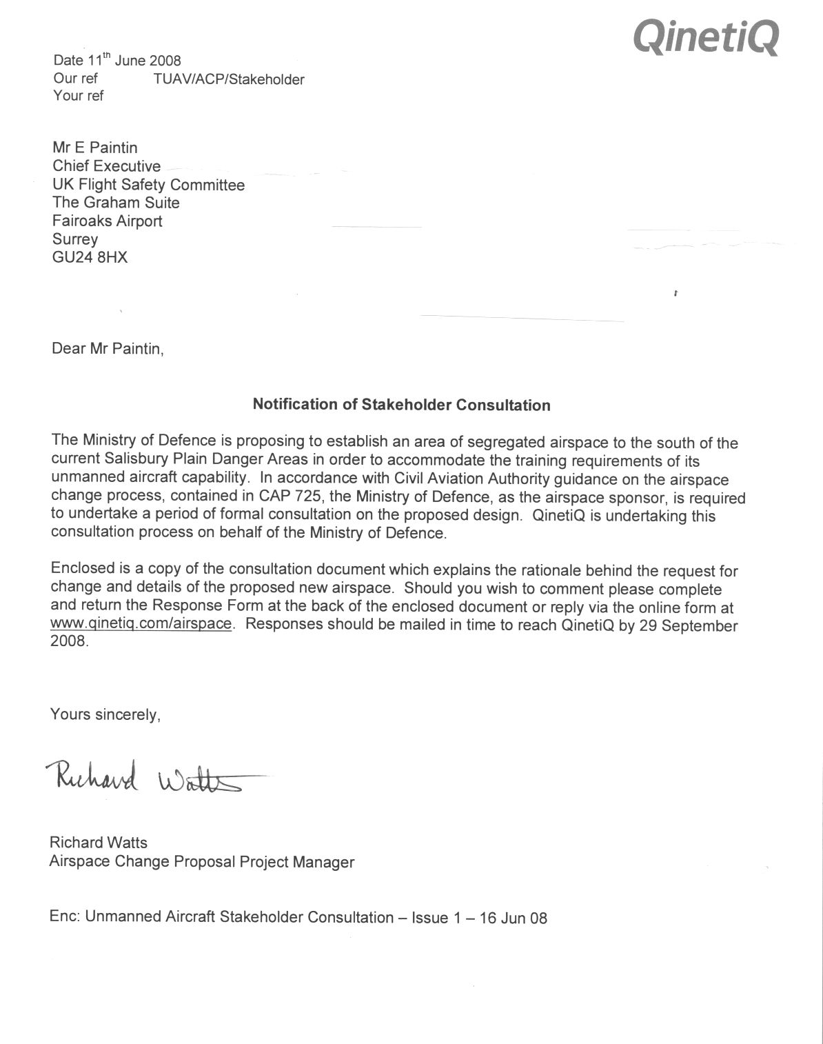 Qinetiq stakeholder consultation letter june 2008 ukfsc for Addressing relocation in cover letter
